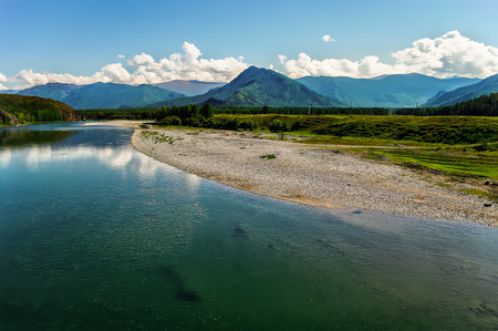 breadth: Panoramic view of the mountain river and stony shore Stock Photo