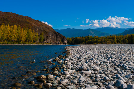 pellucid: Covered with stones coast mountain river