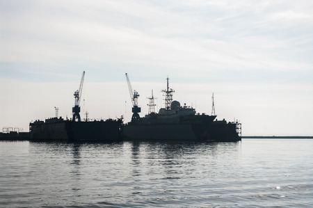 missile: Small missile warship in the harbor, Baltic, Russia Stock Photo