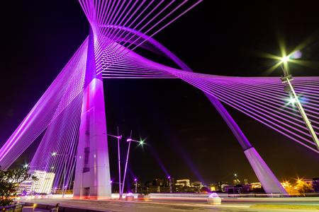 Night view of the illuminating Seri Wawasan Bridge, Putrajaya Malaysia Redakční
