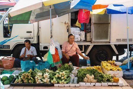 Tuaran Sabah, Malaysia - February 17, 2019: Variety selection of vegetables at Tamu Tuaran, street market.