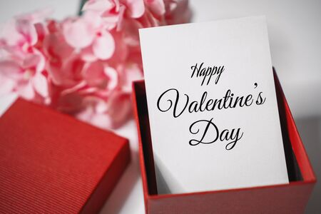 Happy Valentine's Day. Paper Card in Gift Box. Love and Romance Concept. Stock fotó