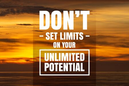 Inspirational and Motivational Quote. Don't Set Limits On Your Unlimited Potential. Sunset Background. Banco de Imagens