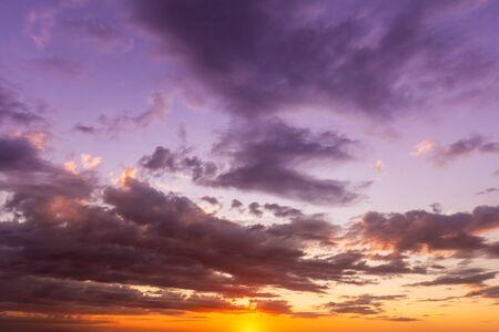 Cloud Formation on Dramatic Sunset Sky Background Banco de Imagens