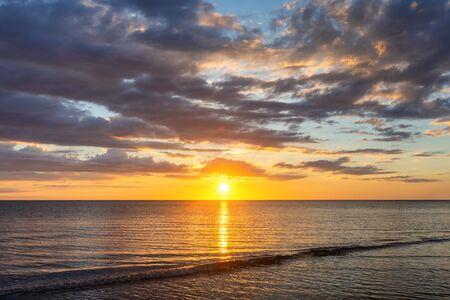 Golden Hour Sunset View at Tanjung Aru Beach, Kota Kinabalu, Sabah. Stock fotó