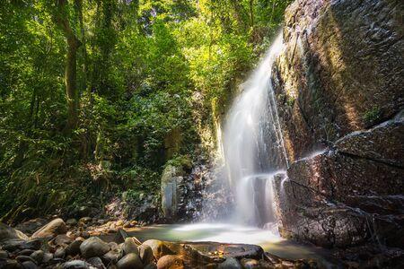 Kionsom Waterfall in Tropical Rainforest. Kota KInabalu Sabah.