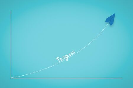 Business Progress Chart With Paper Plane. Business Metaphor.