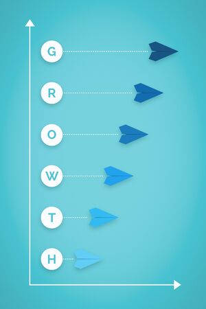 Growth and Progress Chart With Paper Plane. Business Metaphor. Banco de Imagens