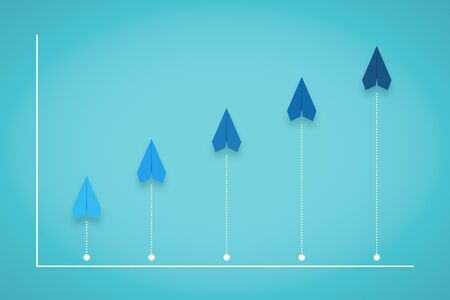 Competition, Growth and Progress Chart With Paper Plane. Business Metaphor. Banco de Imagens