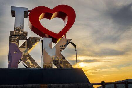 Kota Kinabalu, Sabah, Malaysia - August 23, 2019: I Love KK statue. A tourist attraction landmark located at the heart of Kota Kinabalu Sabah.