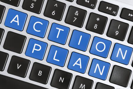 Business Strategy and Planning Concept. Action Plan Word on Computer Keyboard.