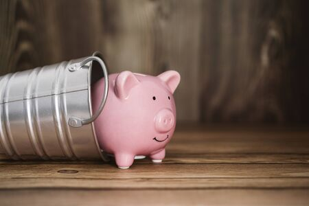 Piggy Bank Coming Out of Steel Bucket. Business and Financial Concept.