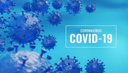 COVID-19, Coronavirus Text and Illustration. Artistic 3D Illustration of the Severe Acute Respiratory Syndrome Coronavirus 2 (SARS-CoV-2).