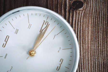 Past Twelve O'clock. Close of Analog Clock.