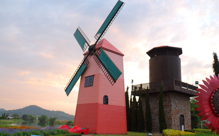 Natural pink windmill in the garden photo