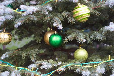 golden ball: golden ball Christmas decorations Stock Photo