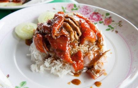Roasted duck with juicy stock with rice on traditional white plated photo