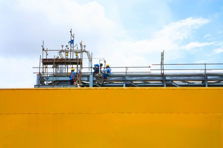 Petroleum workers are maintaining the Refinery Pipe line