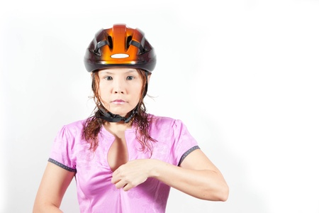 woman in helmet photo