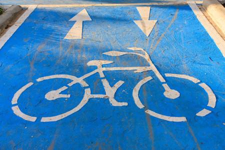 Blue bike lane photo