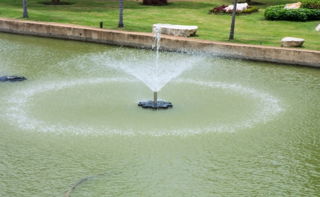 Fountain in pond of garden photo