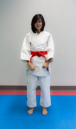 Judo training gear red belt photo