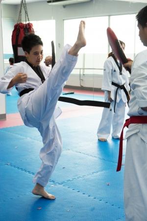 Taekwondo training Banco de Imagens