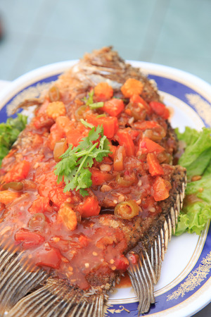 Spicy fried fish photo