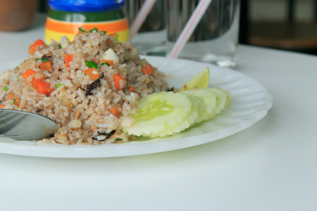 Fried rice on white plate photo