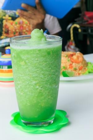 slushy: Kiwi smoothie in glass Stock Photo