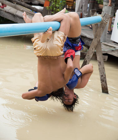 Water Thai Boxing at Pattaya, Thailand on Otober 8, 1013