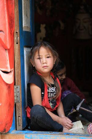 Nagarkot, Nepal - Nepalese kids in Nagarkot hill on April 17, 2014