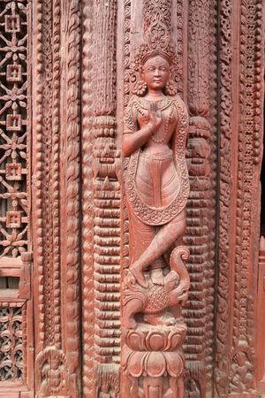 traditonal: Traditonal Nepals curving door Stock Photo