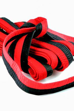 red on black: taekwondo red black belt Stock Photo