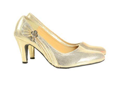high heel shoes: gold high heel shoes