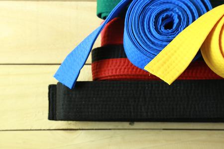 martial: Color belt of martial art on wood floor