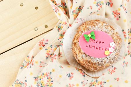 choux: choux cream with pink Happy birthday sign