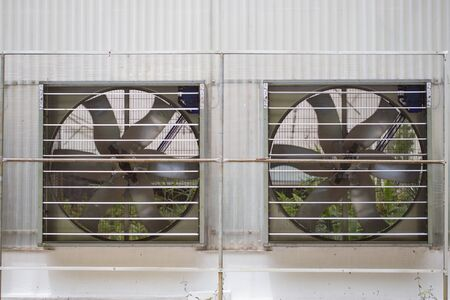 agriculture industrial: Big industrial fan or agriculture ventilation in farmland