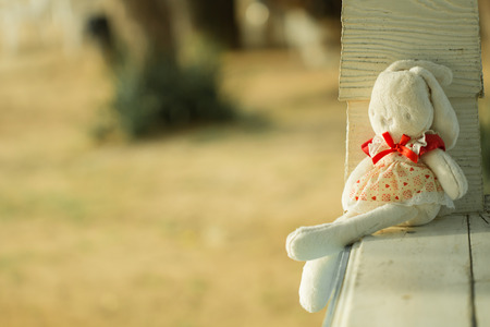 Cute rabbit doll sit on the wood bench, lonely feeling with warm tone