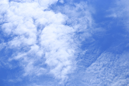 Blue bright clear sky and white cloud. Scene of sunny nature. Cloudscape Stock Photo