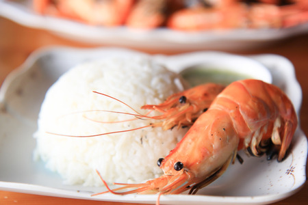 Griiled shrimp on plate as seafood dish readay to eat