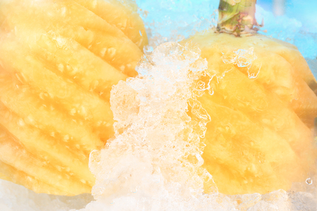 Two fresh cold  yellow peeled pineapple in swirl cutting on ice Stock Photo