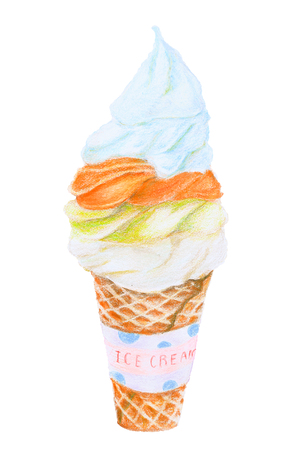 Dairy fresh soft ice cream with brown crispy waffle cone for summer : 3 flavors vanilla, chocolate, mint, green tea Color pencil hand drawing illustration seamless pattern on white background Stock Photo