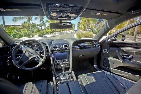 Bentley on the road in tropical climate, Dominican Republic Editorial