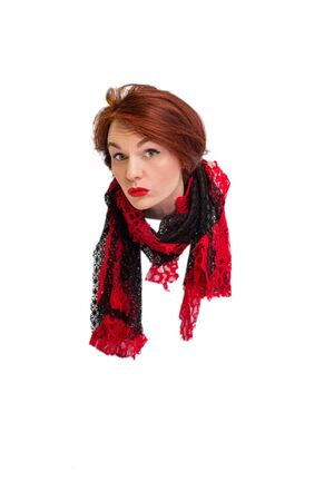 head of a stylish woman in scarf, isolated on white background. Vertical view.