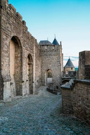Medieval city and the largest fortress in Europe Carcassonne founded in the 2nd century. 版權商用圖片