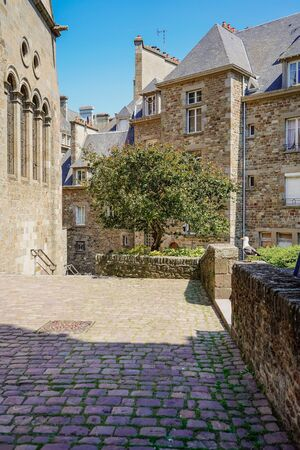 on the streets of Saint-Malo, France. A city and port in northwestern France, located in the Brittany region.