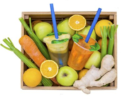 Juice Cups with space for logo in the vegetable drawer with fruit pple, lemon, carrot, celery, ginger,