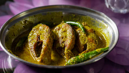 hilsa fish curry with mustard paste and green chilli served on plate with selective focus 免版税图像
