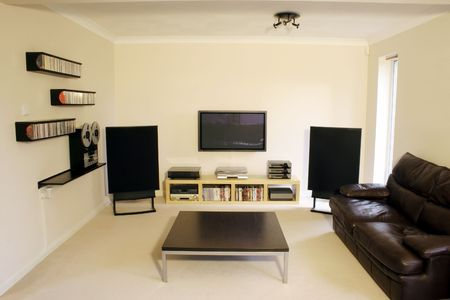 entertainment center: Plasma screen and Home cinema sound system in modern room